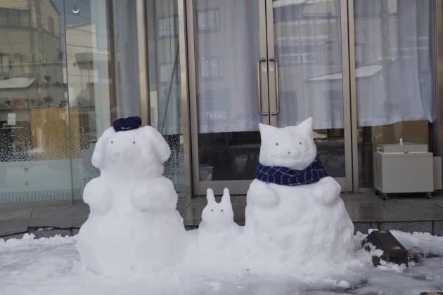 可愛い雪だるま 犬 猫 うさぎ